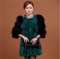 M-2XL New 2014 Winter Women's Fashion Warm Fur Coat Raccoon Fur Sleeve Rex Rabbit Fur Long Coat A311C , EMS Free Shipping