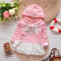 T818 New 2014 Spring Autumn Children Long Sleeved Fashion Hooded Dresses,Infantis Baby Girl Cute Animal Sweet Princess Dress F15