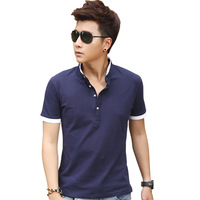 2014 summer male short-sleeve T-shirt 100% cotton teenage V-neck men's clothing short-sleeve slim clothes
