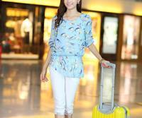 happy SZ  New Fashion Ladies' elegant floral print blouse casual vintage shirt slim high quality brand designer tops FTX005