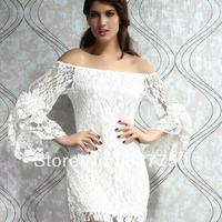 happy SZ    Women dresses,  Japanese new style, sexy, slash neck, lace trumpet sleeves, slim dress YD015