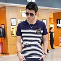 2014 summer men's clothing short-sleeve 100% cotton stripe vintage slim male short-sleeve T-shirt teenage top