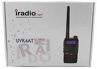 EMS free shipping 2pcs/lot iradio uvk4at vhf uhf dual band portable ham 2 way radio station with car charger and earpiece