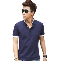 2014 summer men's clothing brief top male 100% V-neck cotton business casual stand collar short-sleeve T-shirt upperwear