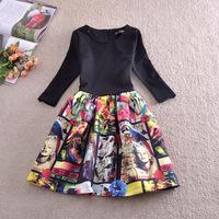 Spring Autumn European and American Style Woman Three Quarter Sleeve Print Character Dress Slim Fashion Vintage Dress