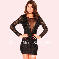 happy SZ    Women dresses, Body sequins, transparent, bare-chested, halter, sexy,long-sleeved dress YD013