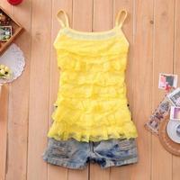 6544  Promotion Condole Belt Vest T Shirt Women's Round Collar Lace Summer Selling Women's Brand   KSBX004 6544