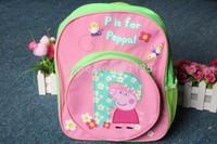 Retail Free Shipping 3D Green Peppa Pig Backpack Children Schoolbags Kids Baby Boys Girls School Bag Children's Schoolbag