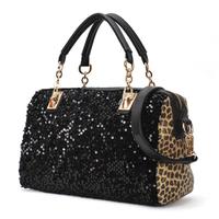 Free shipping 2014 fashion female leopard print paillette women's messenger bags lady chain handbag shiny sequins shoulder bags