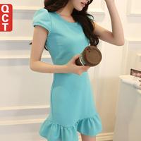 2014 spring one-piece dress short-sleeve slim women's basic ruffle