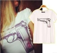 2014 New Classic Fashion Brand Women T-shirts , Gun short sleeve Top Tees , Good Quality Cotton T Shirt Tops & Tees