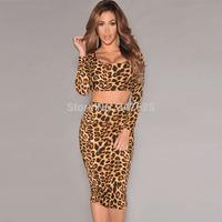 women summer two piece dress sexy bodycon long sleeve pencil leopard dress novelty party club wear dresses new 2014