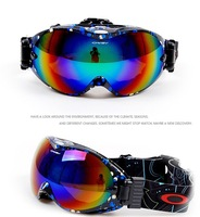 2015 unisex dual-optic Antifog Anti-UV Spherical lens bilayer Ski goggles skiing eyewear can put shortsighted glass black frame