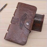 Tide vintage leather men's wallet a short paragraph long section of printing multi-card bit fashion antique leather wallet