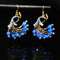 Bohemia peacock phoenix dance hollow-out temperament tassel hanging long earrings earrings a couple