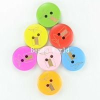 100 Pcs Wood Sewing Buttons Scrapbooking 2 Holes Mixed Sewing Cord Print 20mm Handcraft DIY jewelry accessories (W03929 X 1)