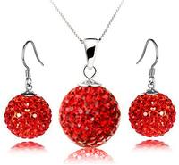 Beautiful Woman Fashion 100% Silver 925 AAA Jewelry Sets for Women Shamballa Set Solid Silver Free Shipping