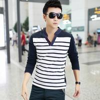 Jeanswest 2014 summer male stripe upperwear casual long-sleeve T-shirt male 100% cotton basic shirt