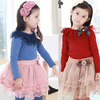Free shipping 2014 autumn Korean girls long-sleeved T-shirt + lace skirt children piece fitted wholesale (2-7T)