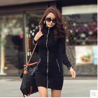 8450 2014 new winter women's Slim was thin Korean long-sleeved cardigan zipper bag hip dress S/M/L/XL/XXL/XXXL free shipping