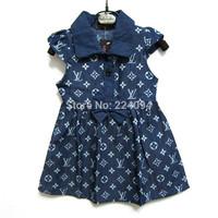 Free shipping 2014 High Quality Summer fashion denim  dresses  girls denim dress wtih bowknot dress 1-5years old