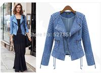 2014 European and American fashion brand Hitz Slim female long-sleeved cardigan short denim jacket coat