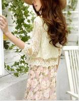 6544  Fashion Women Blouses skinny shoulder pad precious mosaic lace shirt cardigan   shirt air-conditioning  ks0051 6544