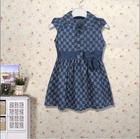 Free shipping 2014 High Quality Summer fashion girls dresses brand girls denim dress    fashion  baby dress 1-5years old