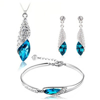 100% Silver 925 AAA Jewelry Sets for Women Blue Conch Necklace+Earring+Bracelet Solid Silver Free Shipping
