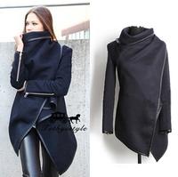 2014 hot new style women Coat Asymmetric long zipper Worsted O-neck Full Pockets Winter Women Overcoat solid Fashion Trench Coat