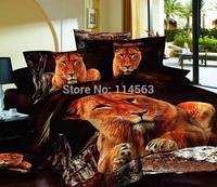 New Beautiful 4PC 100% Cotton Comforter Duvet Doona Cover Sets FULL / QUEEN / KING SIZE bedding set 4pcs golden brown lion lions