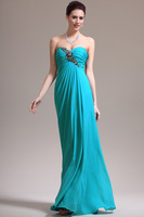 Free shipping Beaded Sexy Light Blue Long fashion Evening Dress