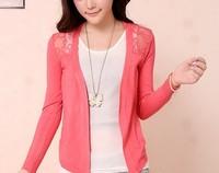 6544  v-neck Hook flower unlined upper garment Cardigan Sweater Casual Slim Cotton Solid Knitwear Coat ks0034 6544