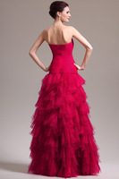 2014 New Fashion 100% Real Red Long Ball Prom Gown Strapless Tulle Evening Dresses Formal Dress Free shipping