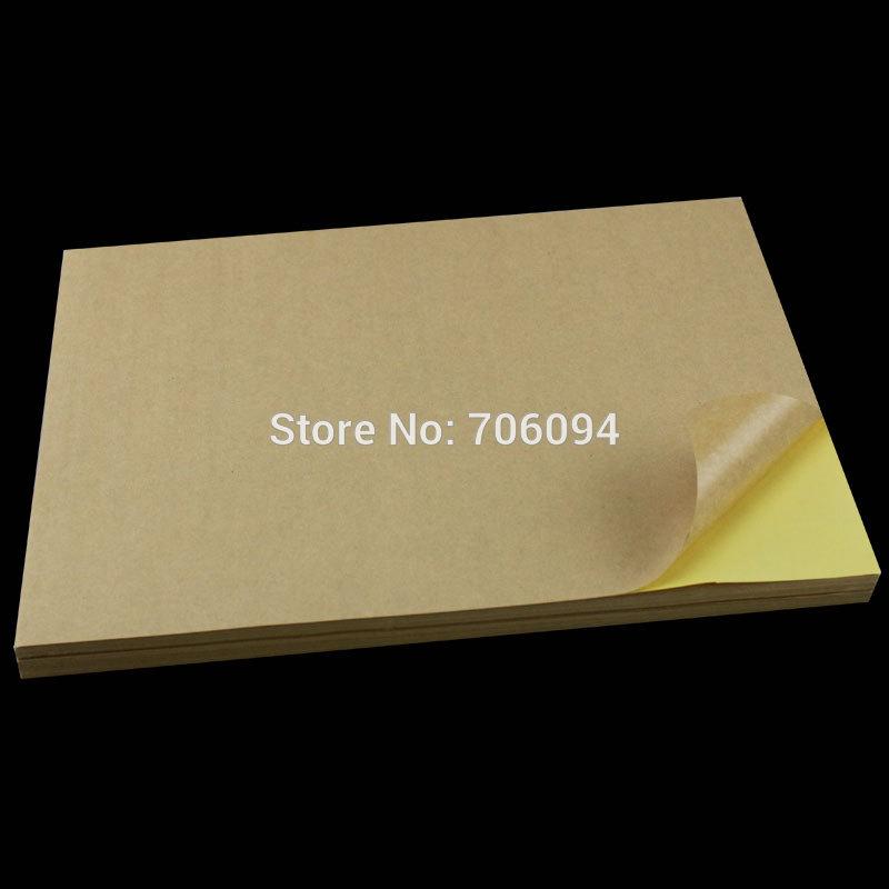 100 Sheets/lot A4 Sticky Kraft Paper, Self adhesive A4 Blank Kraft Label Paper for Laser Inkjet Printer(China (Mainland))