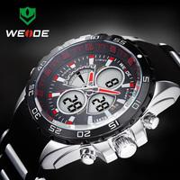 WEIDE Analog Digital LCD Display Watches Luxury Brand Men Quartz Full Steel Diver Men's Military Sports Watch Free Shipping1103