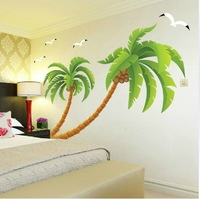 Free Shipping Removable Restickable Kids Wall Sticker Thick Art Mural Nursery Wall Decal Coconut Tree Wall Stickers
