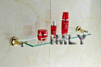 Diamond Design High Quality Glod Finishing  Bathroom Accessories Glass Shelf   Bathroom Shelf  B-GT.103