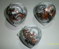 ES034 Jingdezhen China ceramic bird feeder cup,Hand painted, heart shape,Shuihuzhuang characters design,3Pcs one sets