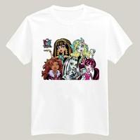 Monster High Printed Tshirt For Women Men Short Sleeve Unisex Cotton Casual White Shirt Top Tee XXXL Big Size ZY053-03