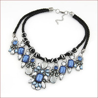 Free Shipping 2014 Fashion Jewlery European Colored Gems Flower Necklaces & Pendants Braided Rope Collar Jewelry For Women N4813