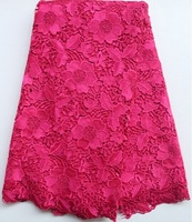 High quality african french cord chemical water soluble lace fabric 5yards in pink color WL706E