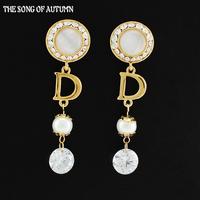 2014 Fashion Brands Crystal Earrings Luxurious rhinestone Pearl Earrings High Quality Women Jewelry
