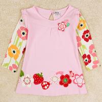 Retail! F2275# 2014 new hot fashion nova kids brand baby boys children clothing cotton spring long t shirt for baby girls