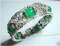 100% handmade Charming Tibet Silver Natural Green Jade 10mm Bracelet AAA
