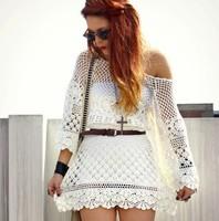 Summer Vintage Handmade floral crochet Dress Women Sexy perspective White Knit dress