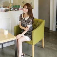 2014 New Korean Woman Summer Lace Dress Girl's preppy style Short Sleeve Patchwork Chiffon Mini Dress Black