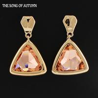 2014 New Arrival Fashion Women Jewelry Color Crystal Earrings Luxury Gold Earrings