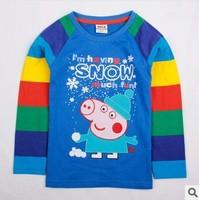 Retail! 18m/6y NOVA kids wear boys hot Peppa Pig embroidery spring autumn long sleeve t-shirt 100%cotton Free shipping A4553#