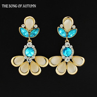 2014 Latest Jewelry Design High Quality Color Crystal Flower Earrings Luxury Brand Women Drop Earrings